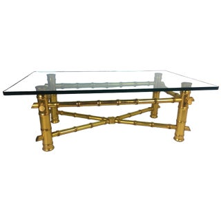 Hollywood Regency Gold Leaf Faux Bamboo Coffee Table
