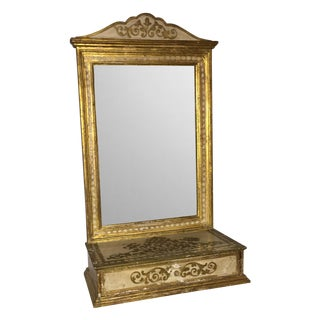 Italian Florentine Vanity Mirror with Drawer