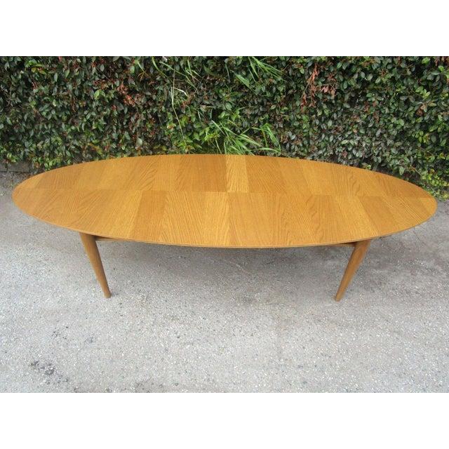 Oval low profile wood coffee table chairish for Low profile white coffee table