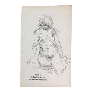 Original Vintage Female Nude Sketch