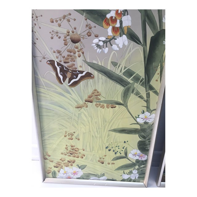 Vintage Hand Painted Silk Panels - A Pair - Image 5 of 6
