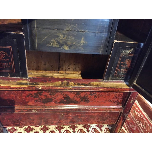 Antique Chinese Painted Wood Cabinet - Image 6 of 10