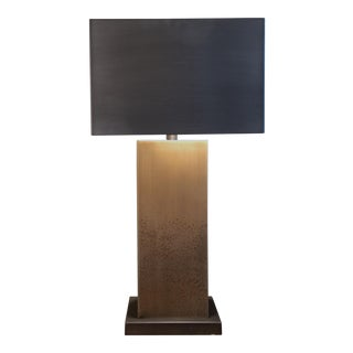 Square Bronze Table Lamp With Metal Shade
