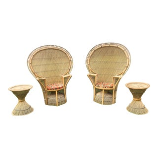 Rattan Emmanuel Peacock Chairs & Side Tables - a Pair