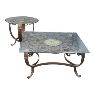 Floral Motif Metal Glass Top Coffee Table & End Table