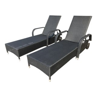 Morgan Design Outdoor Chaises Brown Frames + White Cushions - A Pair