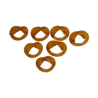 Orange Lucite Pretzel Twist Napkin Ring - Set of 7