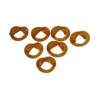 Orange Lucite Pretzel Twist Napkin Ring - Set of 7