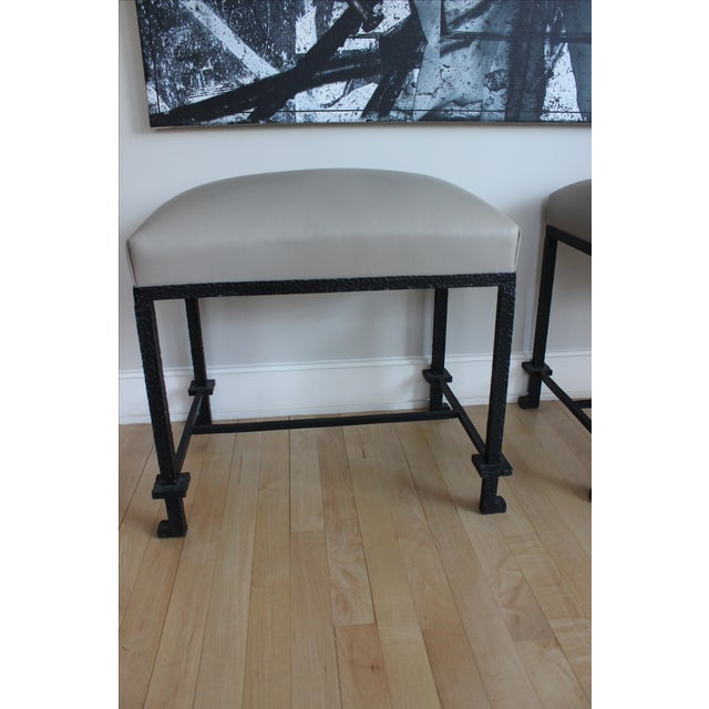 Leather & Hammered Steel Benches - A Pair - Image 3 of 5