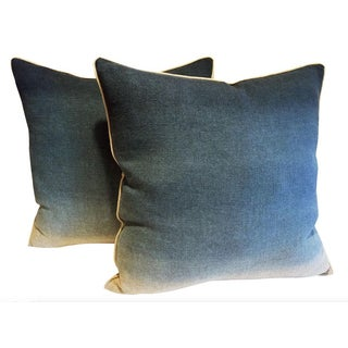 Belgian Linen Blue Ombre Pillows - a Pair