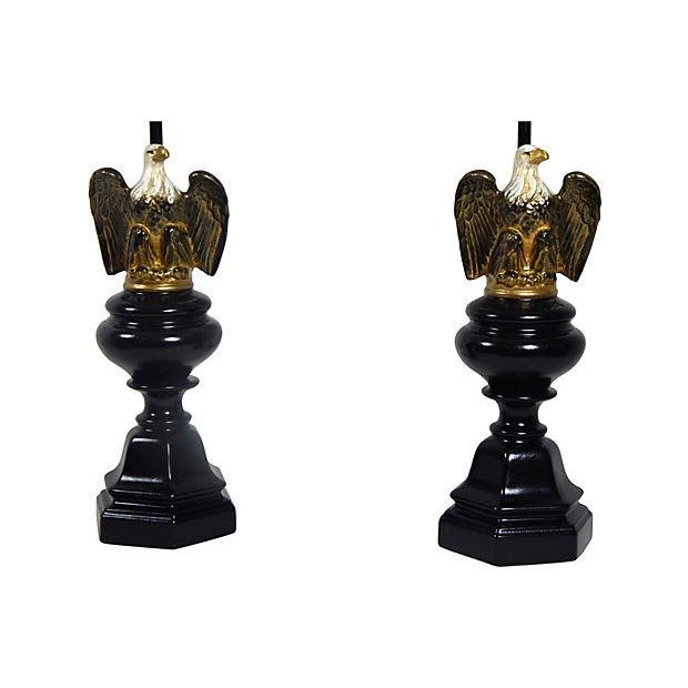 Image of Hand Painted Mid-Century Eagle Lamps - A Pair