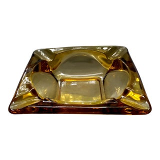Mid-Century Amber Glass Ashtray
