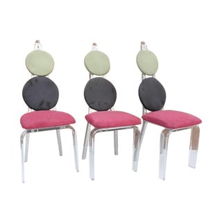 Vintage Lucite & Aluminum Dining - Chairs Set of 3