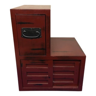 Red Tansu Step Commodes
