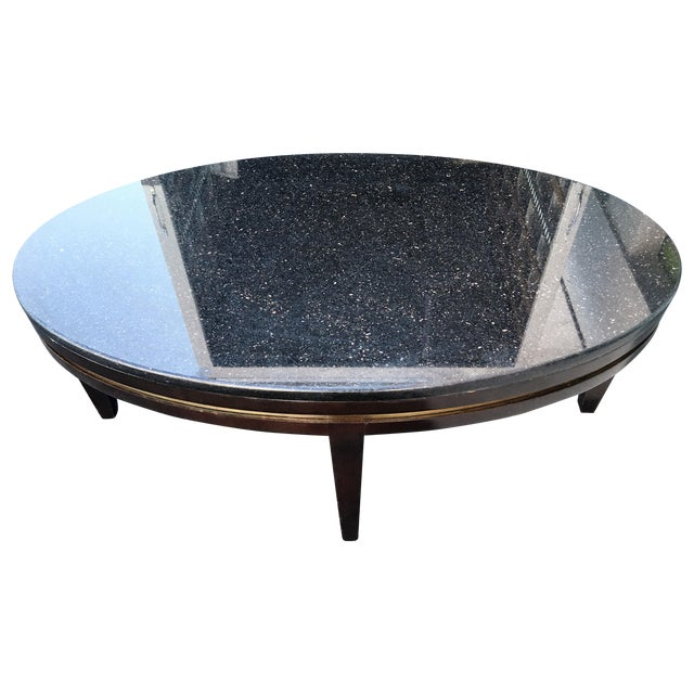 Oval Black Granite Coffee Table Chairish