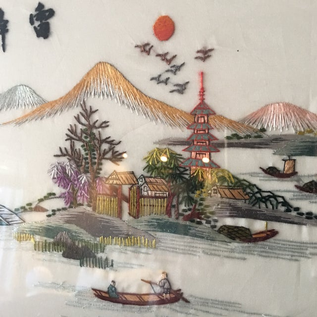 Vintage Chinese Hand Embroidered Wall Art - A Pair - Image 5 of 8
