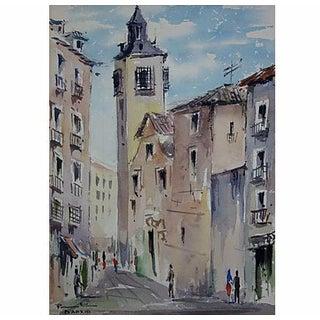 Street Scene in Madrid Watercolor