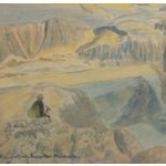 Image of Vintage Italian Mountains Watercolor Painting,1956