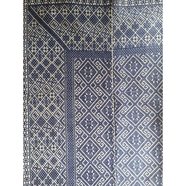 Hand Embroidered Indigo Tribal Rug - 2′6″ × 5′ - Image 3 of 6