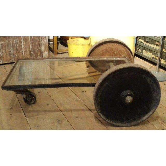 Antique Industrial Metal Glass Table on Wheels - Image 2 of 8