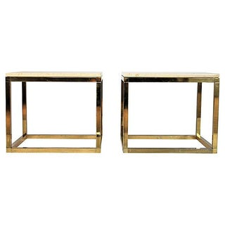 Brass & Travertine Side Tables - Set of 2