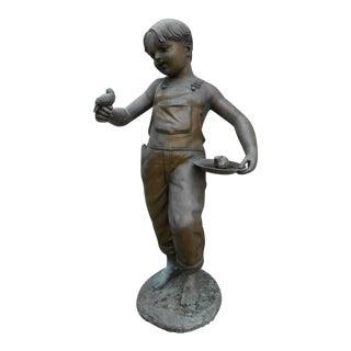 Unique Bronze Statue of a Boy Holding a Bird
