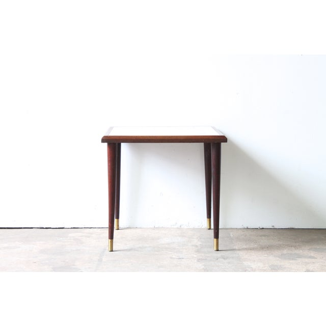 White Mosaic Top Side Table - Image 2 of 3