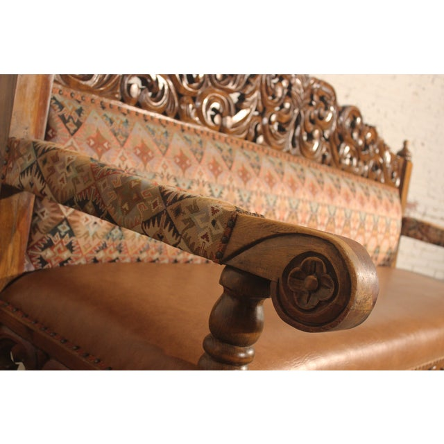 Spanish Carved Pine Bench - Image 2 of 10
