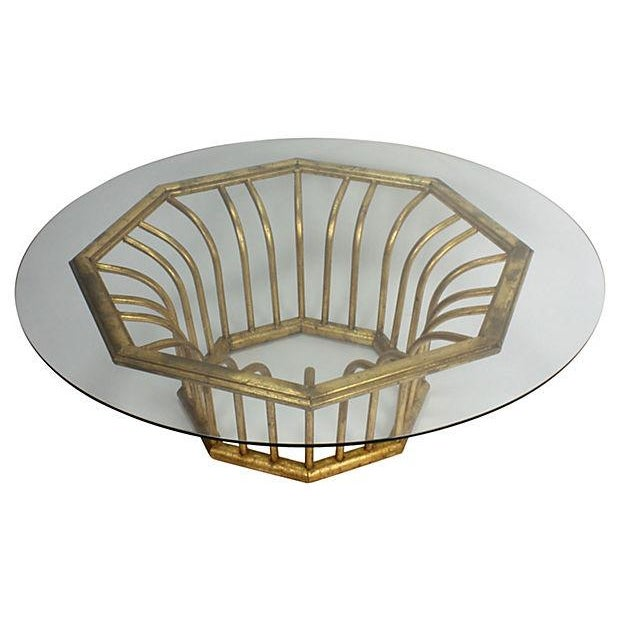 Italian 20k Gold Leaf Round Coffee Table - Image 2 of 5