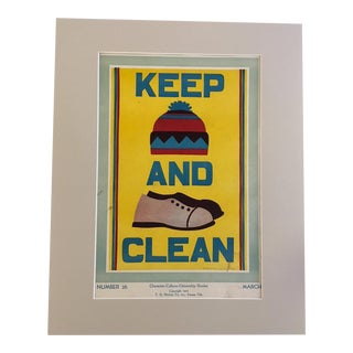 "Vintage 1930's ""Keep (Hat) and (Shoes) Clean Classroom Poster"