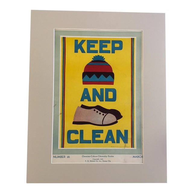 """Vintage 1930's """"Keep (Hat) and (Shoes) Clean Classroom Poster - Image 1 of 3"""