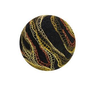 Temari Ball - Jupiter Black With Golden Lace