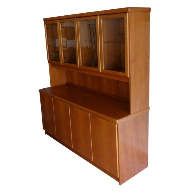 Solid Teak Buffet & Lighted Hutch - Image 1 of 5