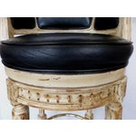 Image of Louis XVI Carved Wood Swivel Bar Stools - A Pair