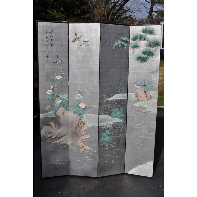 Vintage Chinoiserie Hand Painted Folding Screen - Image 6 of 7