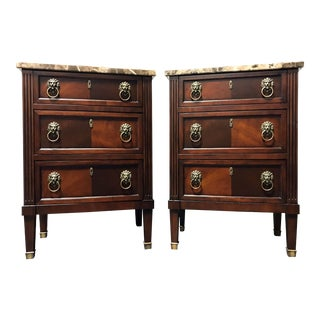 Hekman Mahogany & Granite Top Nightstands - A Pair