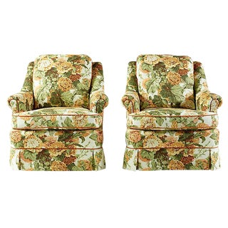 1960's English Style Hollyhock Club Armchairs - A Pair