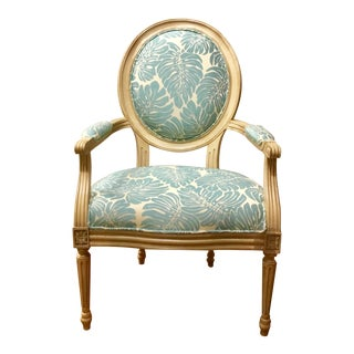 Blue Leaf Pattern Avery Arm Chair