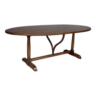 Custom Walnut Wood Oval Table With Wishbone Stretcher