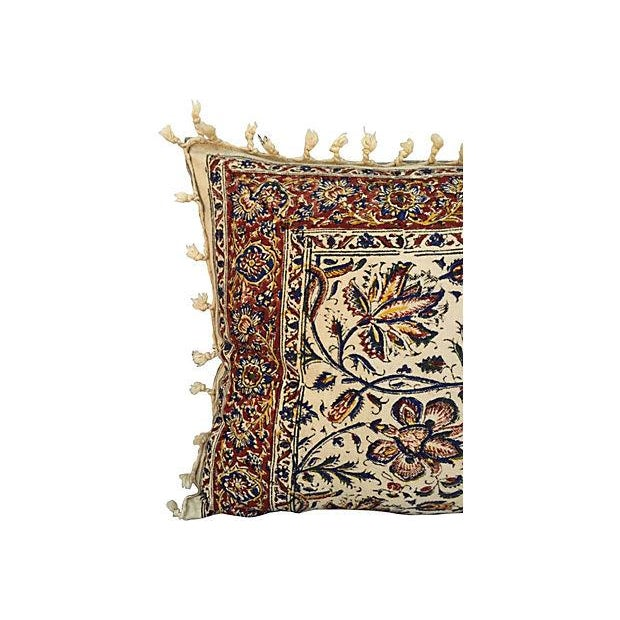 Hand-Blocked Indian Fringed Body Pillow - Image 3 of 5