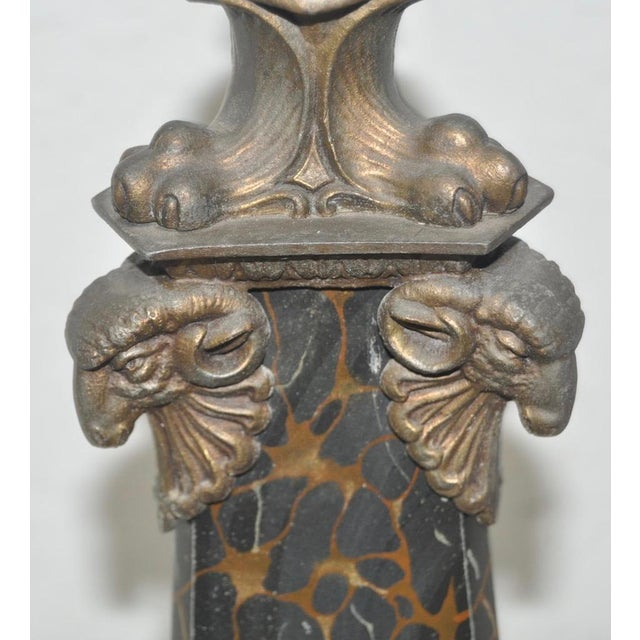 Circa 1900 Egyptian Revival Cast Iron & Faux Marble Table Lamp - Image 6 of 8