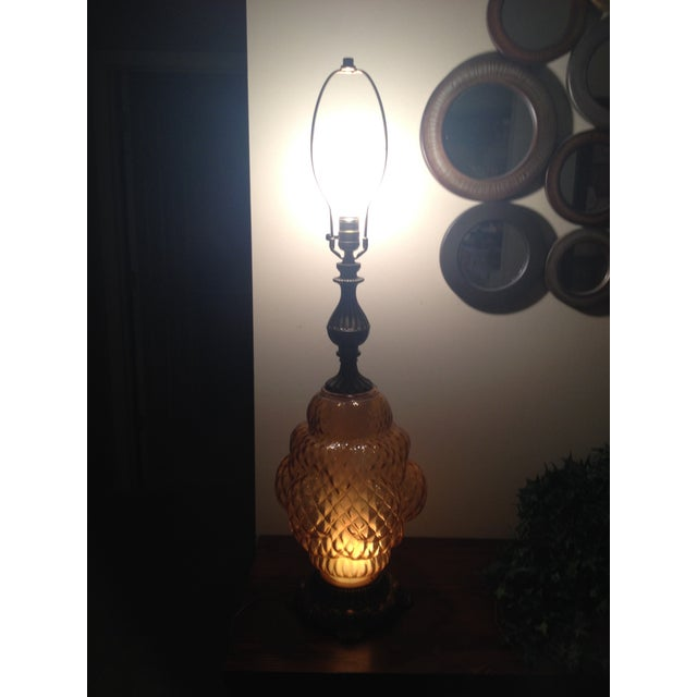 Tall Hollywood Regency Ornate Amber Glass Lamp - Image 6 of 6