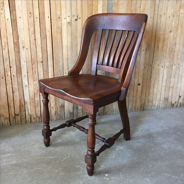 Antique Walnut Bankers Lawyers Office Chair - Image 3 of 10