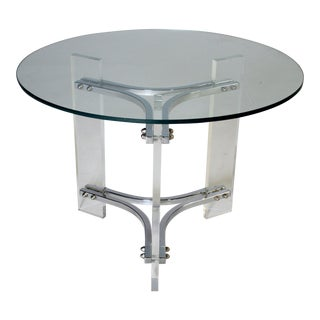 Charles Hollis Jones Lucite Chrome & Glass Table