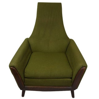 Adrian Pearsall High Back Lounge Chair on Walnut Base