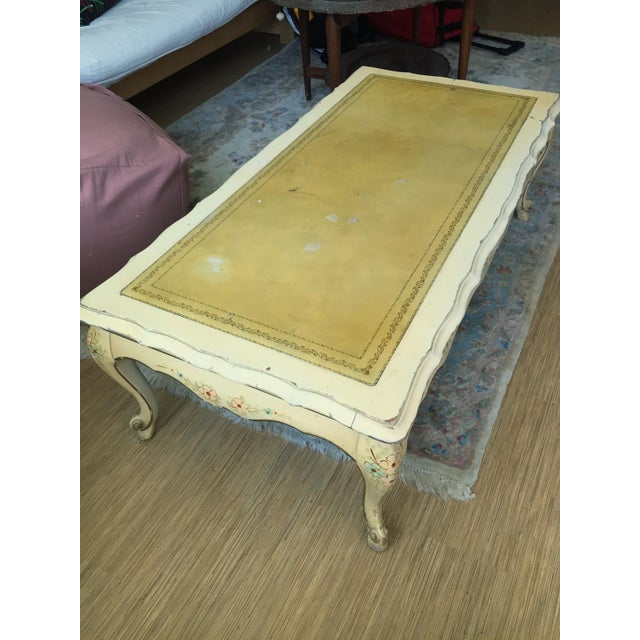 Yellow Painted Wood French Country Coffee Table - Image 3 of 3