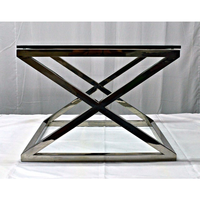 Stainless Steel & Glass Top Square Crossing Table - Image 8 of 8