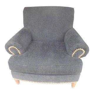 Vintage Black Chenille & Brass Studs Club Chair