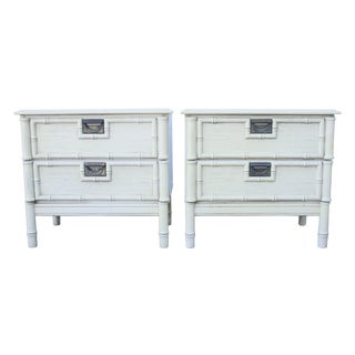 Faux Bamboo Campaign Nightstands - A Pair