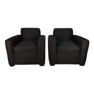 Pair French Art Deco Club Chairs, In the Style Jean-Michel Frank